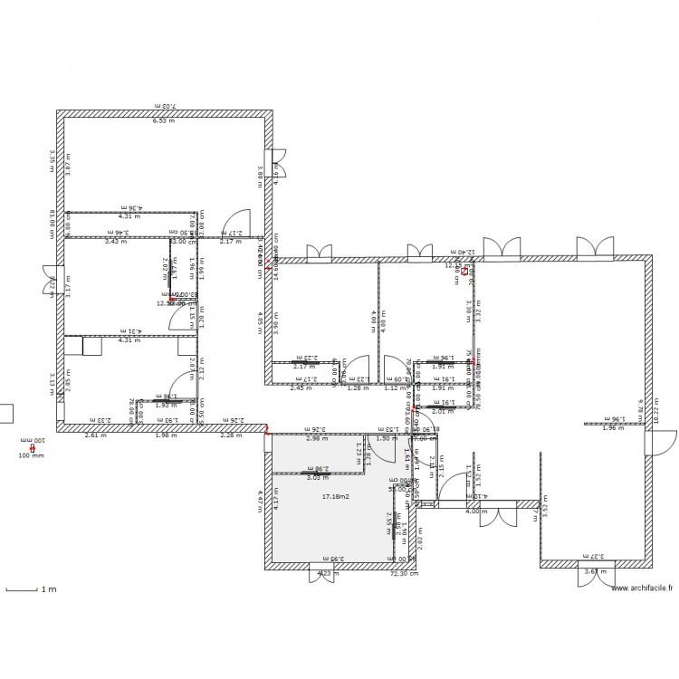 Extension maison plan 1 pi ce 17 m2 dessin par zizi31 for Extension maison 17