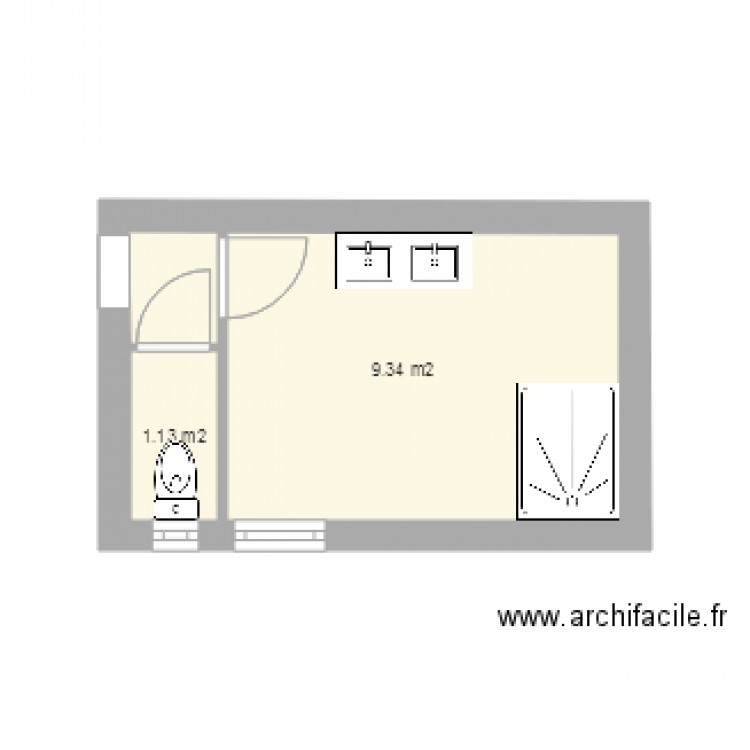 salle de bain plan 2 pi ces 10 m2 dessin par jrbaud. Black Bedroom Furniture Sets. Home Design Ideas