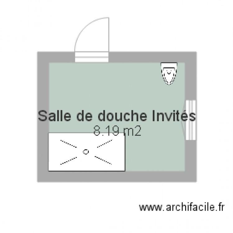Salle de douche invit s plan 1 pi ce 8 m2 dessin par - Plan salle de douche ...