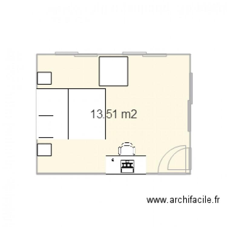 Chambre plan 1 pi ce 14 m2 dessin par karo24 for Chambre one piece