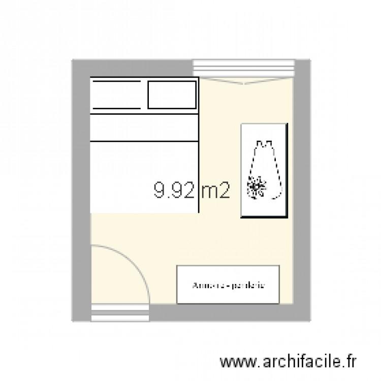 Chambre plan 1 pi ce 10 m2 dessin par lradwane for Chambre one piece