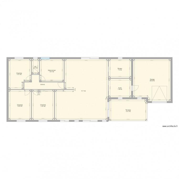 Maison 2 plan 11 pi ces 161 m2 dessin par maison gamarde for Taille moyenne maison