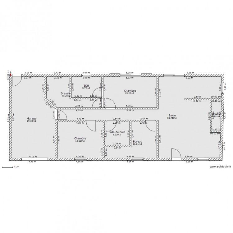 rez de chauss e maison campagne plan 9 pi ces 146 m2 dessin par alexa77. Black Bedroom Furniture Sets. Home Design Ideas