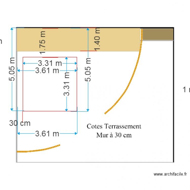 cotes terrassement 60cm du mur plan dessin par btdt85. Black Bedroom Furniture Sets. Home Design Ideas