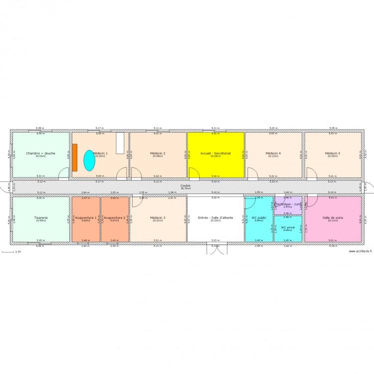 Maison m dicale plan 16 pi ces 276 m2 dessin par phjacquet for Taille moyenne maison