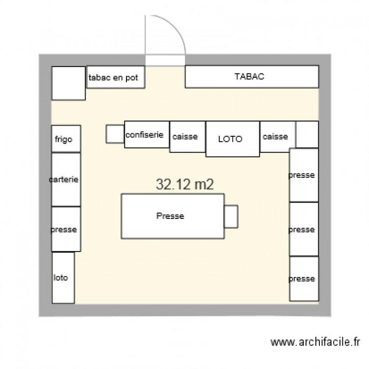 tabac plan 1 pi ce 32 m2 dessin par doudou1965. Black Bedroom Furniture Sets. Home Design Ideas