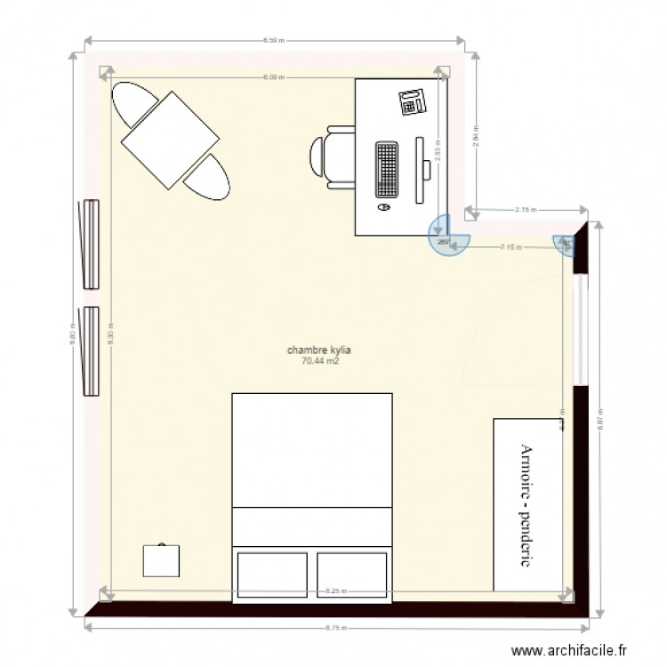 Chambre kylia plan 1 pi ce 70 m2 dessin par soluky for Chambre one piece