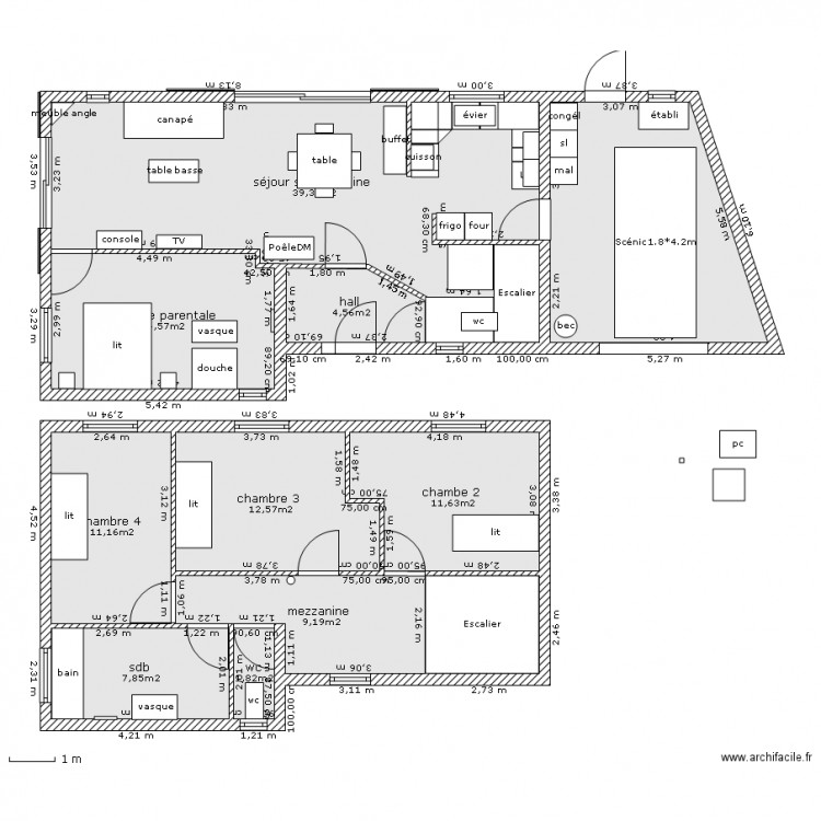 plan masse 4 chambres avec garage plan 12 pi ces 140 m2 dessin par bart56. Black Bedroom Furniture Sets. Home Design Ideas