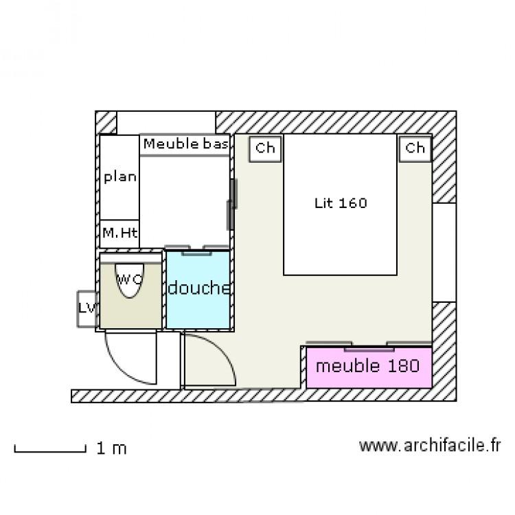 Chambre douche 2 plan 4 pi ces 12 m2 dessin par bendoudou40 for Chambre 9 m2 minimum