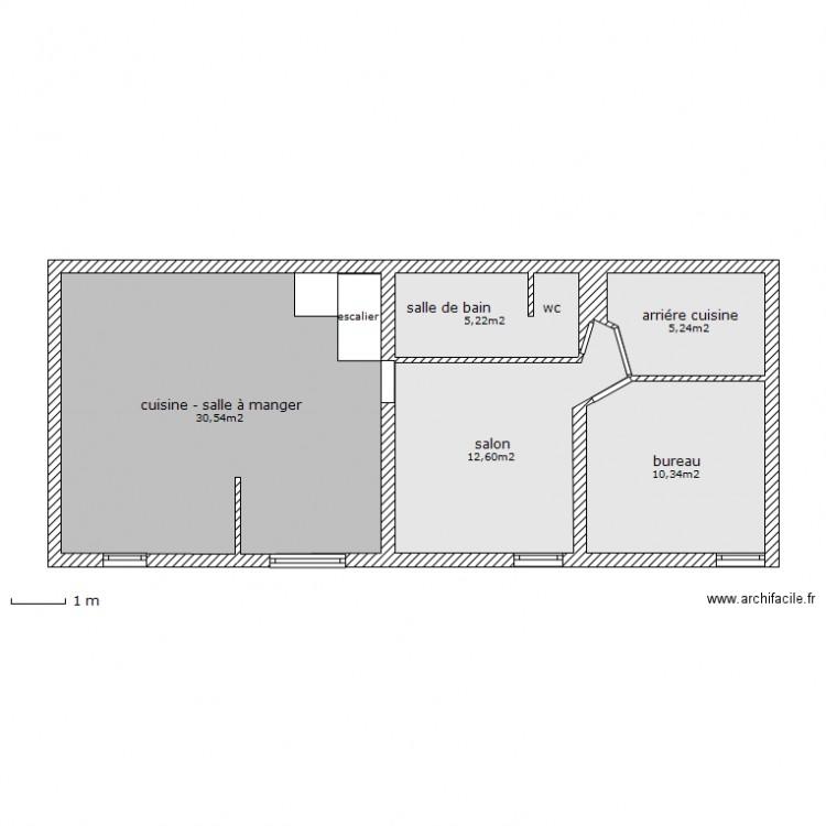 Petite maison malign rdc plan 5 pi ces 64 m2 dessin par bobotrio - Maison maligne ...