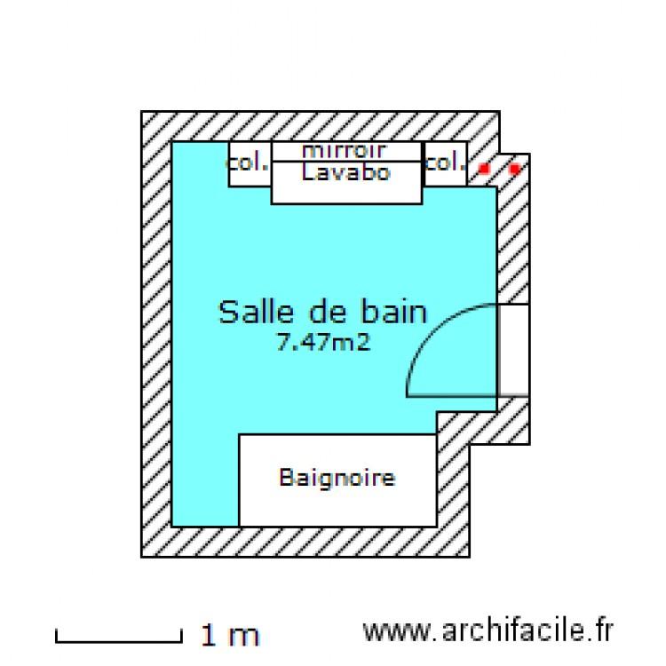 Salle de bain plan 1 pi ce 7 m2 dessin par kristophepetit for Salle de bain 7 5 m2