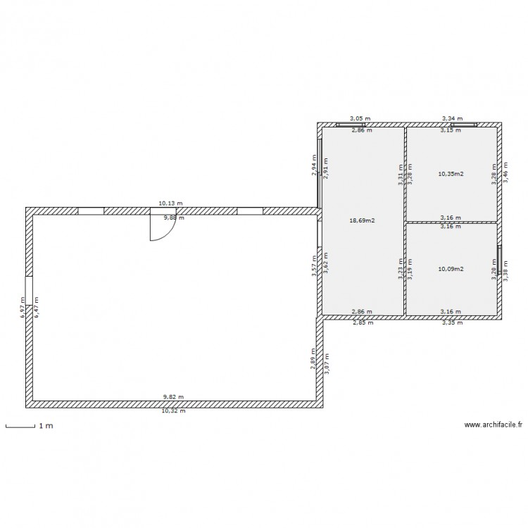 Plan extension 40m2 plan 3 pi ces 39 m2 dessin par gagapris for Plan d agrandissement de maison
