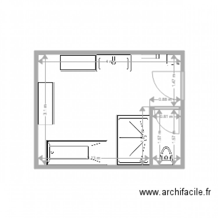 salle de bain dessus plan 2 pi ces 12 m2 dessin par patou53. Black Bedroom Furniture Sets. Home Design Ideas