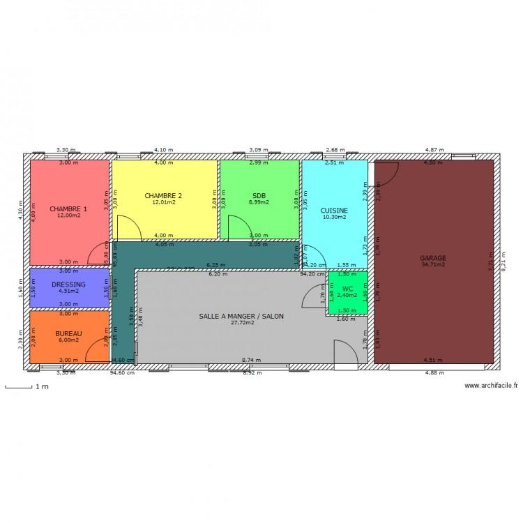Maison plain pied 95m2 plan 10 pi ces 129 m2 dessin par for Taille moyenne maison