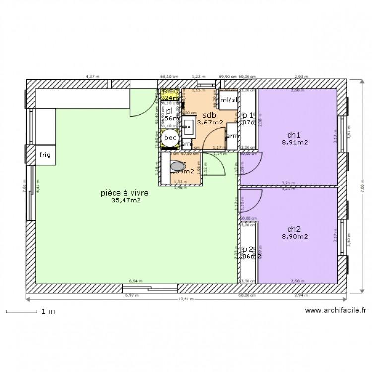 Sdb wc placard technique 2ch plan 10 pi ces 62 m2 for Placard sdb