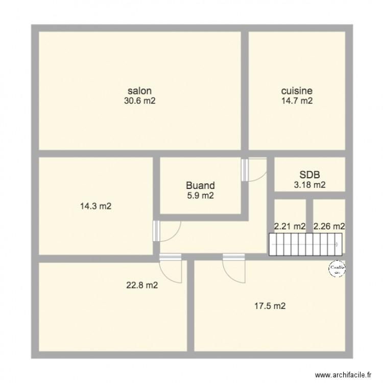 Agrandissement maison plan 9 pi ces 113 m2 dessin par for Agrandissement maison plan