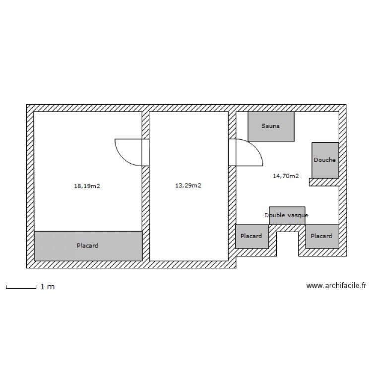 suite parentale mobilier fixe plan 3 pi ces 46 m2 dessin par kevin63. Black Bedroom Furniture Sets. Home Design Ideas
