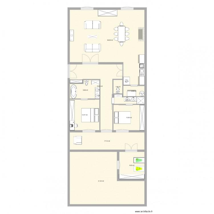 Quai de lettre plan 11 pi ces 181 m2 dessin par thibautcoste - Ancienne baignoire en 3 lettres ...