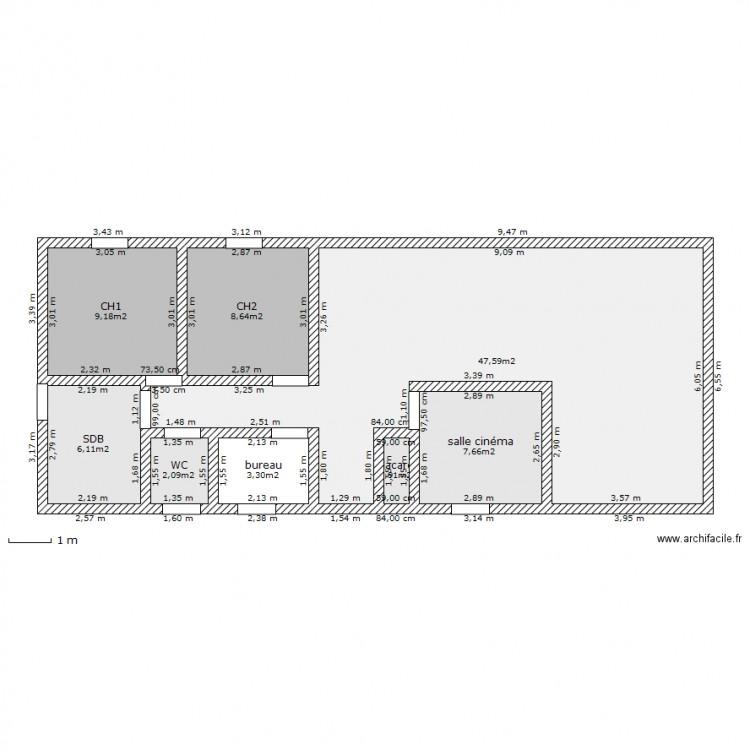 Plan maison 1 plan 8 pi ces 85 m2 dessin par ame8386 for Plan maison 80 m2