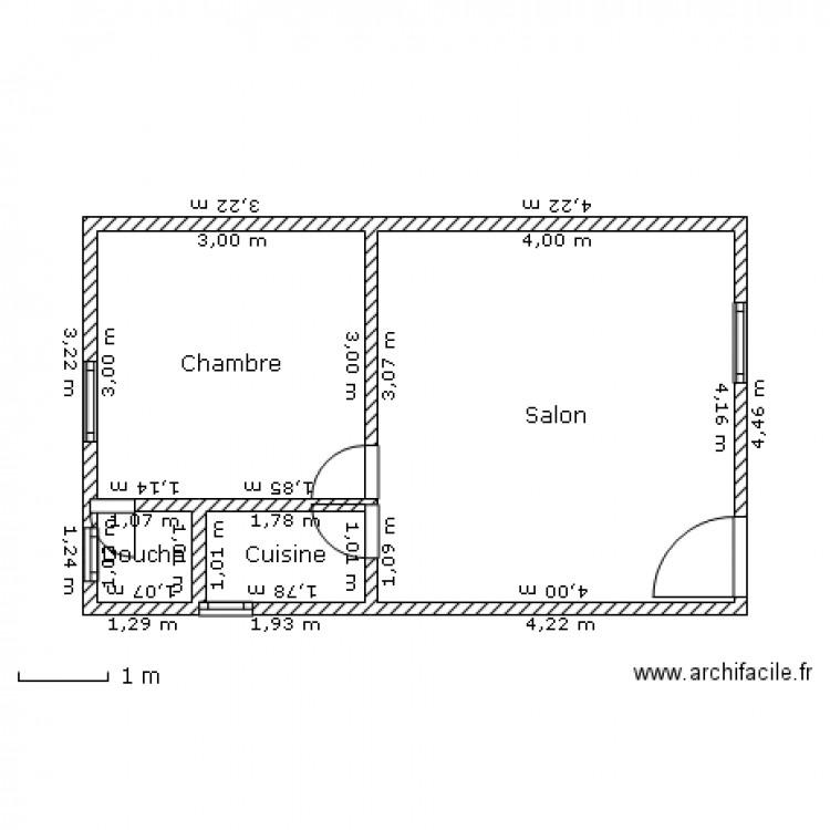 studio moderne de yaouba plan 4 pi ces 28 m2 dessin par edson. Black Bedroom Furniture Sets. Home Design Ideas