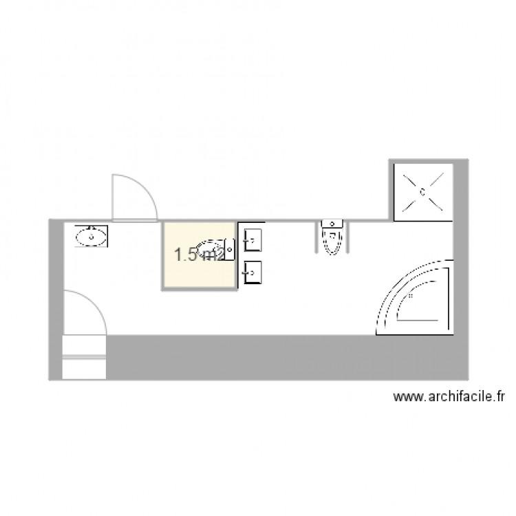 Salle de bain parents plan 1 pi ce 2 m2 dessin par for Salle de bain 2 m2