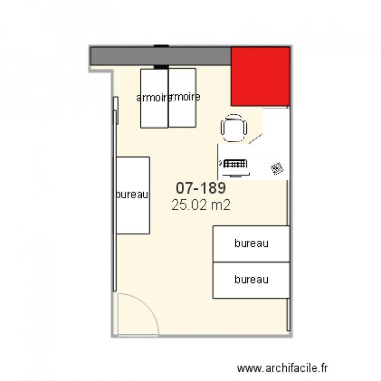 07 189 bureau stagiaire2 plan 1 pi ce 25 m2 dessin par for Nombre de m2 par personne bureau