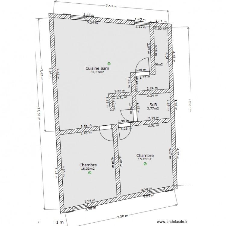 49 chateauneuf 2d plan 5 pi ces 78 m2 dessin par 123soleil16 - Plan 2d facile ...