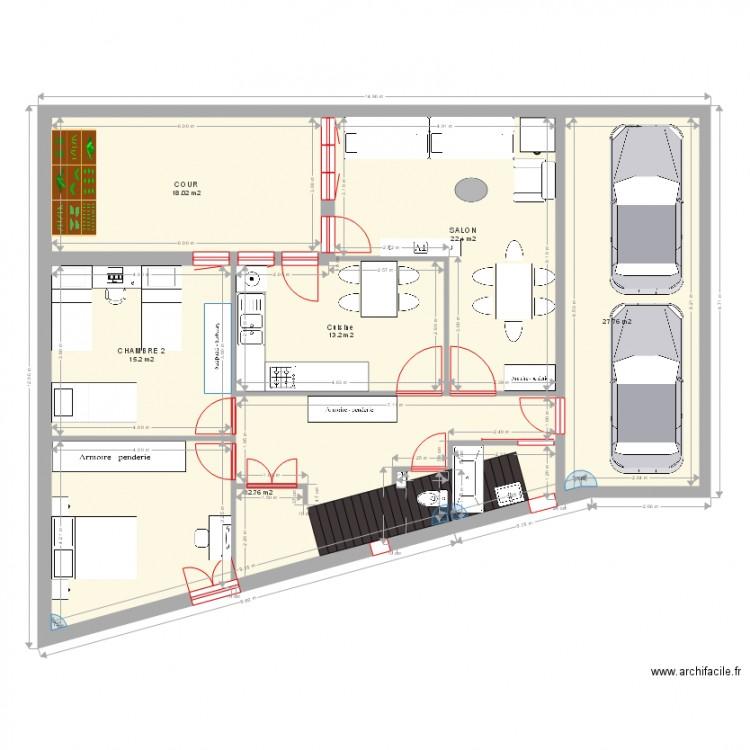 Plan de ma maison plan 6 pi ces 129 m2 dessin par samir g for Je dessine ma maison