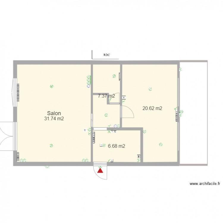 maison garage electricite plan 4 pi ces 66 m2 dessin. Black Bedroom Furniture Sets. Home Design Ideas