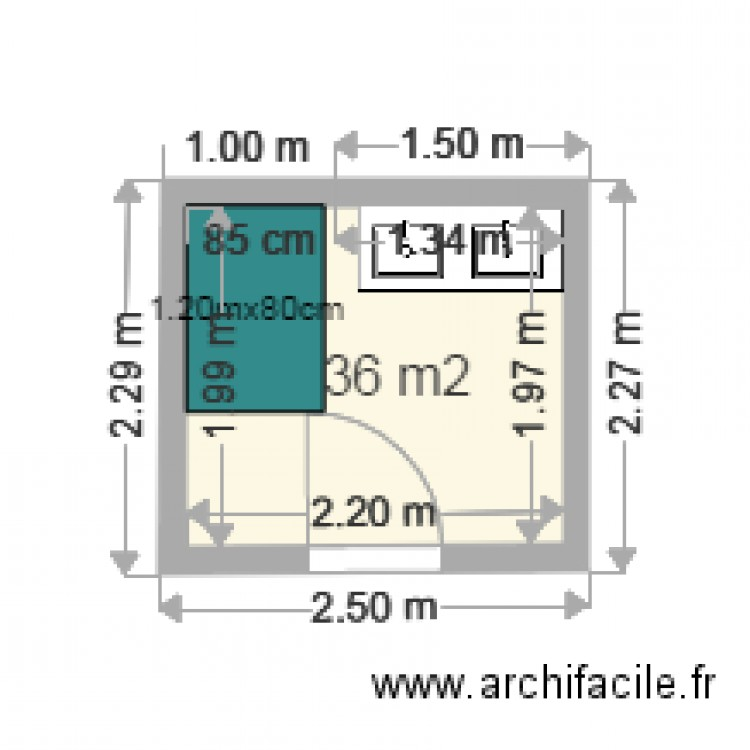 Salle de bain plan 1 pi ce 4 m2 dessin par rosny93110 for Salle de bain 4 m2