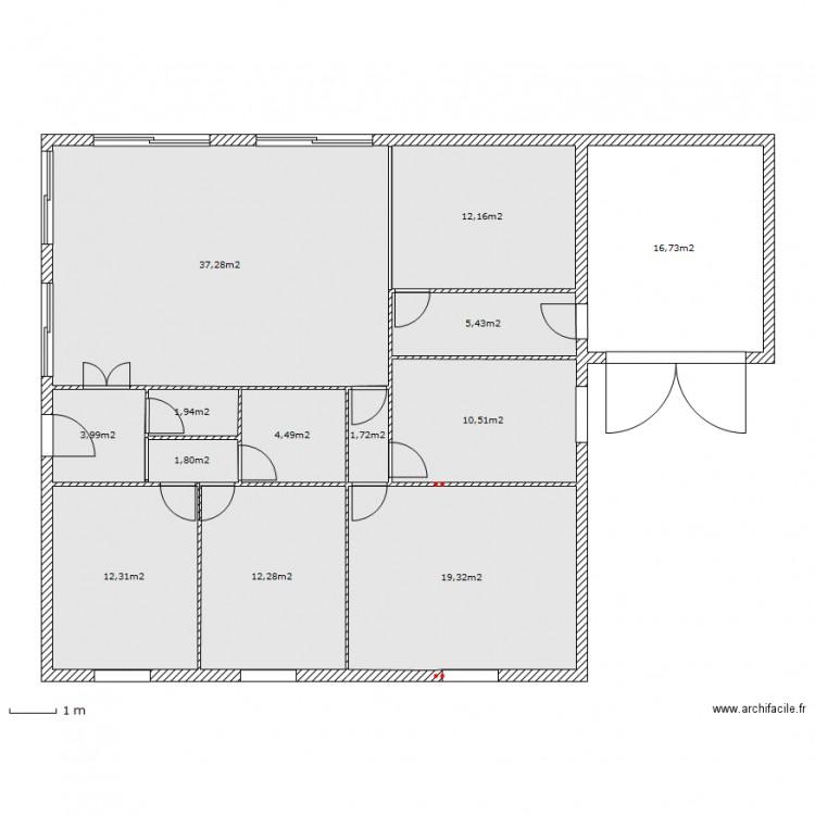 Maison carr e fredokzo plan 13 pi ces 140 m2 dessin par fredokzo33 - Consommation electrique moyenne maison 140 m2 ...