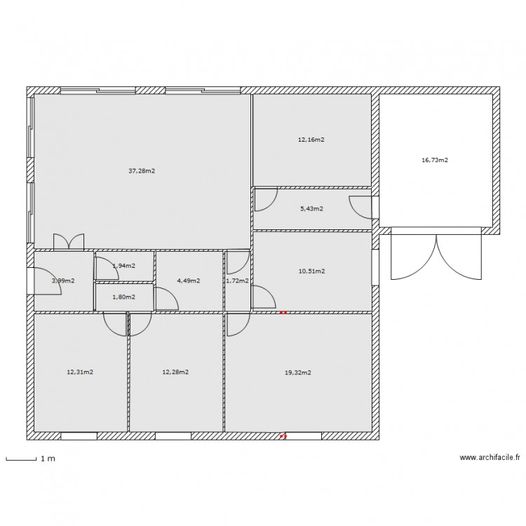 maison carr e fredokzo plan 13 pi ces 140 m2 dessin par. Black Bedroom Furniture Sets. Home Design Ideas