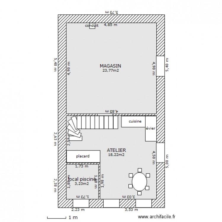 Petite maison rch5 plan 3 pi ces 45 m2 dessin par cammilla - Plan petite maison 70 m2 ...