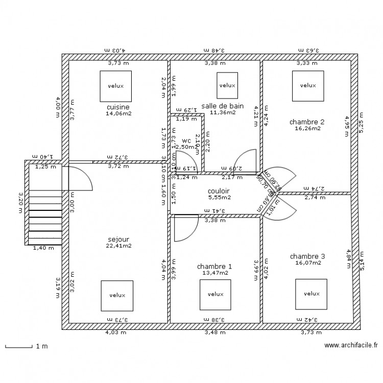Appartement sous comble plan 9 pi ces 105 m2 dessin par for Plan de combles