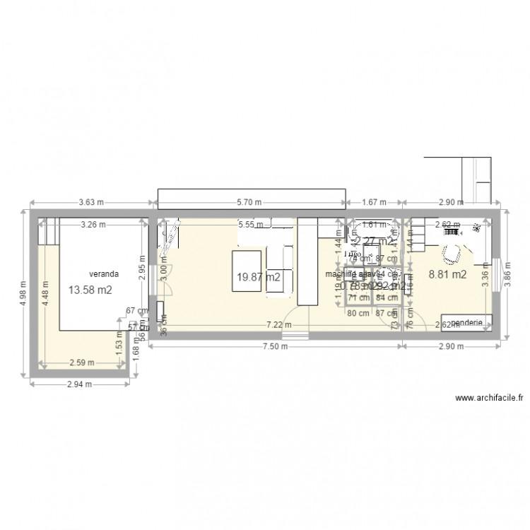 Salon et salle a manger plan 6 pi ces 46 m2 dessin par for Salon salle a manger 70 m2