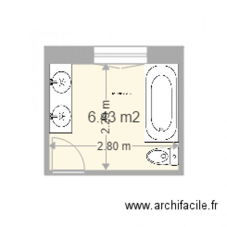 salle de bain plan 1 pi ce 6 m2 dessin par jack pj. Black Bedroom Furniture Sets. Home Design Ideas