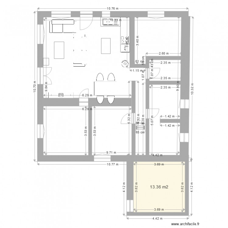Plan maison artigues cuisine int gr e plan 1 pi ce 13 m2 for Plan cuisine integree