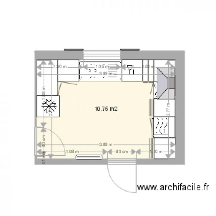 cuisine am nag e 2 plan 1 pi ce 11 m2 dessin par douphil16. Black Bedroom Furniture Sets. Home Design Ideas
