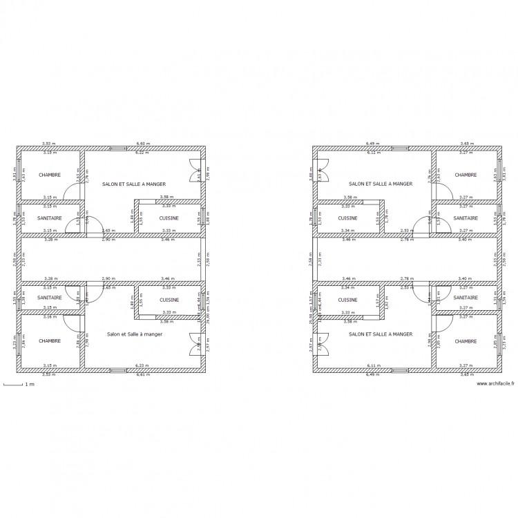 plan rez de chausse 2 b timents plan 18 pi ces 202 m2 dessin par yvan alicalapa. Black Bedroom Furniture Sets. Home Design Ideas