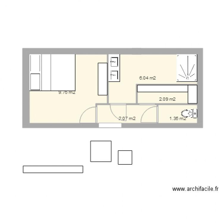 Chambre sdb dressing wc plan 5 pi ces 21 m2 dessin par for Chambre sdb dressing