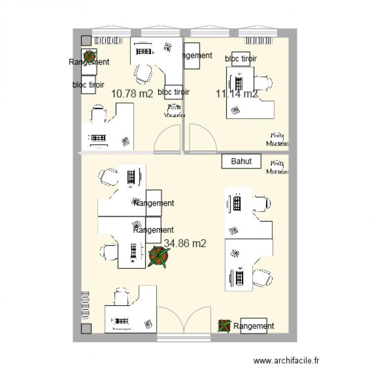Bureau adv apr s travaux plan 3 pi ces 57 m2 dessin par for Nombre de m2 par personne bureau