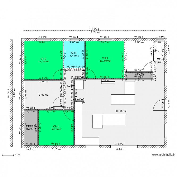 Maison 120 metres carr plan 9 pi ces 104 m2 dessin par for Plan maison carre