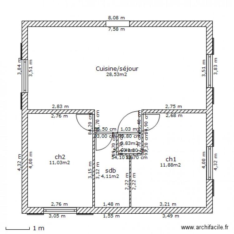 Maison finale dimension plan 5 pi ces 56 m2 dessin par for Taille moyenne maison