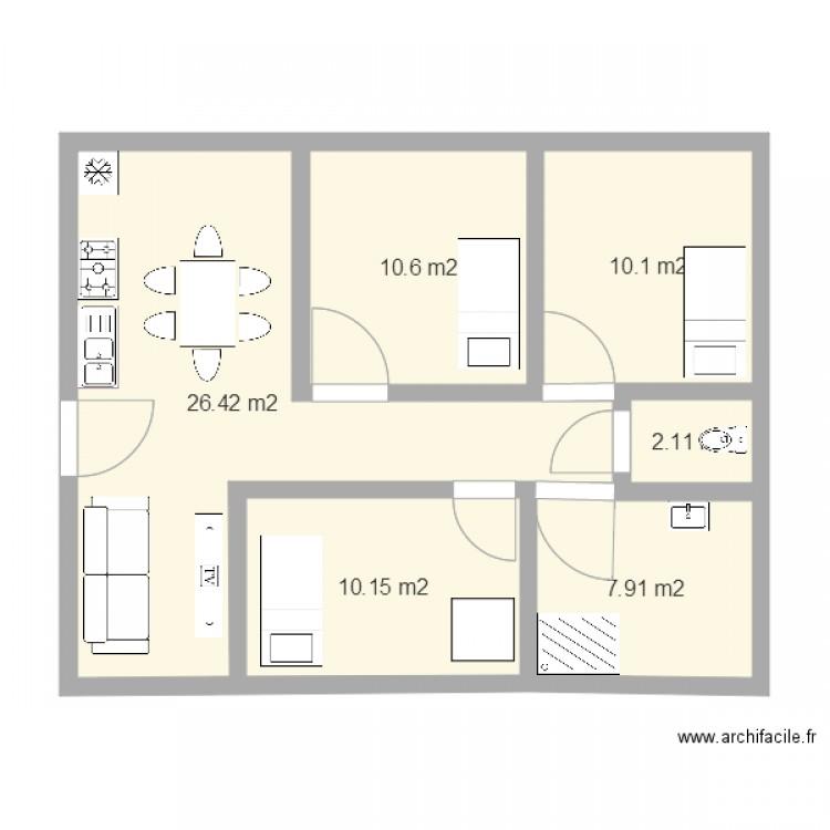 Extension maison plan 6 pi ces 67 m2 dessin par pdelfau for Extension maison 67