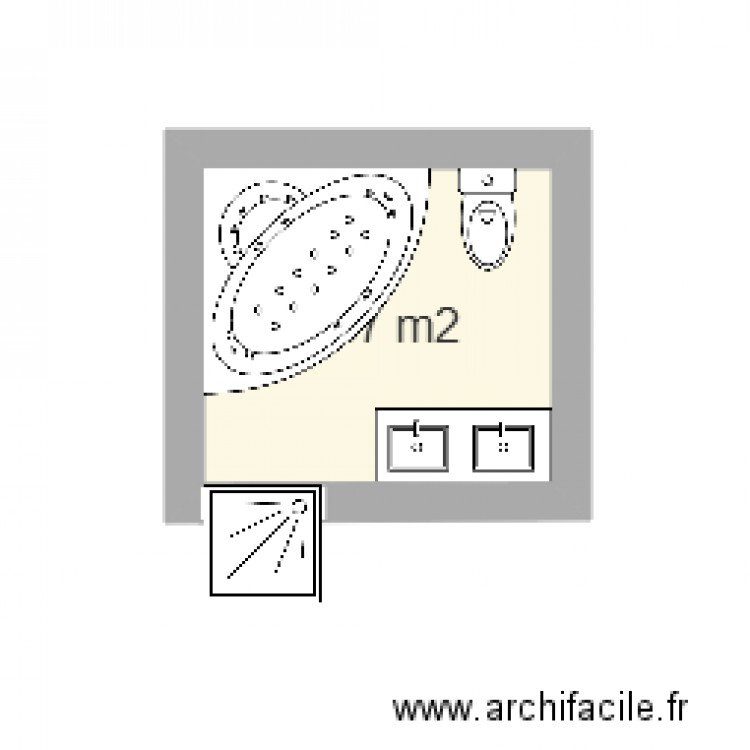 salle de bain plan 1 pi ce 5 m2 dessin par beauny. Black Bedroom Furniture Sets. Home Design Ideas