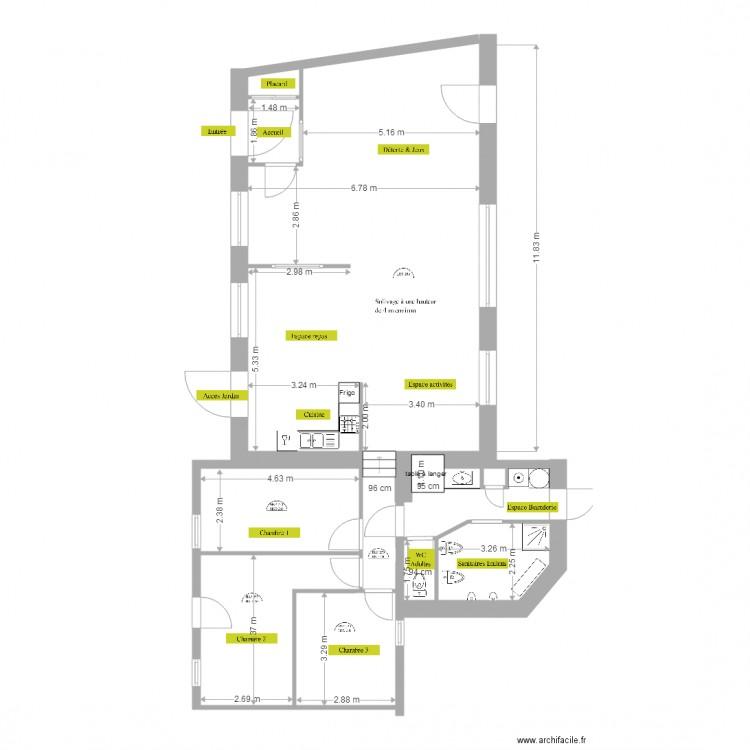 Man projet 1 avec cotation sans am nagement sans jardin for Plan maison avec cotation