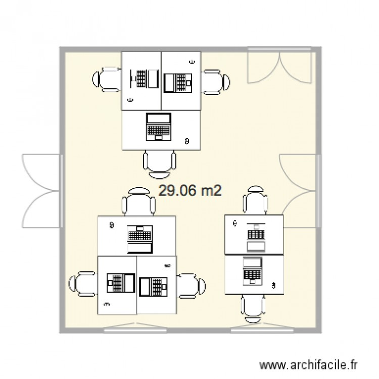 Bureau 2 version 3 plan 1 pi ce 29 m2 dessin par jpbento for Nombre de m2 par personne bureau