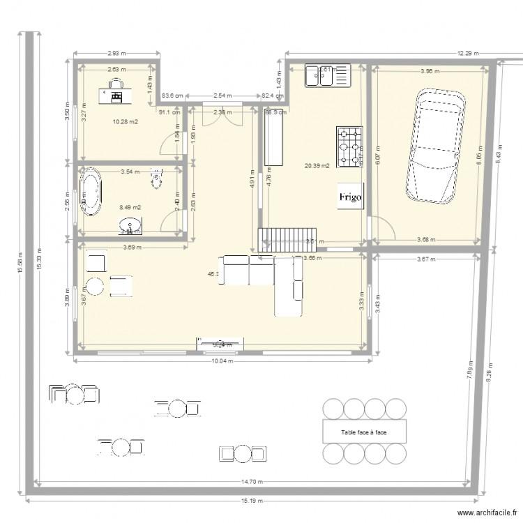 Maison mur plan 5 pi ces 108 m2 dessin par lukz for Plan de maison 5 pieces
