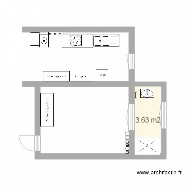 Salle de bain exterieur plan 1 pi ce 4 m2 dessin par for Salle de bain 4 m2