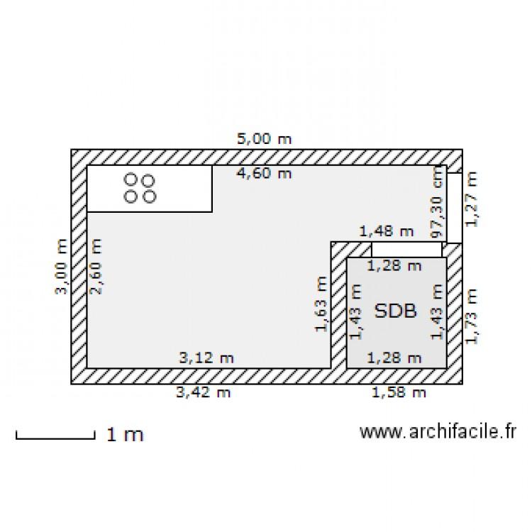 studio 15m2 plan 2 pi ces 11 m2 dessin par tvmdc. Black Bedroom Furniture Sets. Home Design Ideas